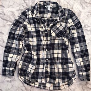 Navy Blue and White Flannel Button Up